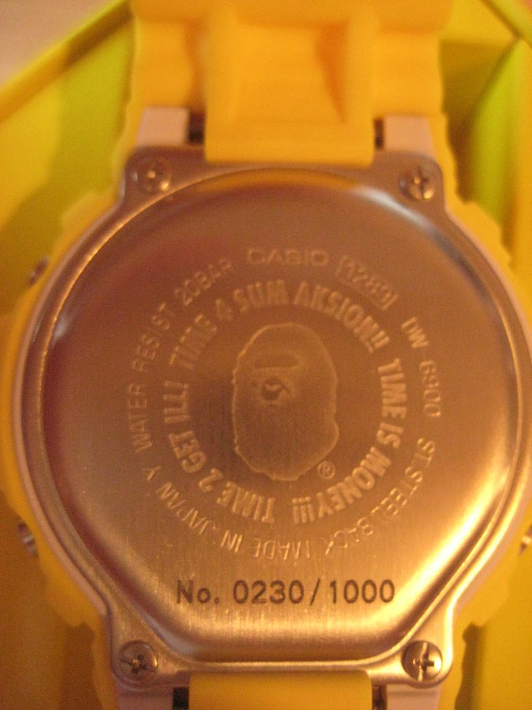 Click image for larger version.  Name:gshock-bape-dw6900-yellow-123.jpg Views:529 Size:79.2 KB ID:7497